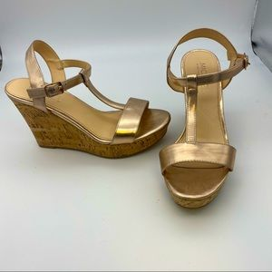 Michael by Michael Shannon cork rose gold wedges